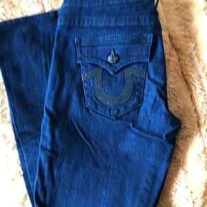 Dark blue True Religion jeans with black sequence